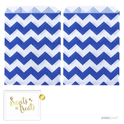 Andaz Press Party Favor Bags with Gold Sweets & Treats Party Sign, 5x7-inch, Royal Blue Chevron, 24-Pack, Hanukkah Food Safe Paper Candy and Treat Bags
