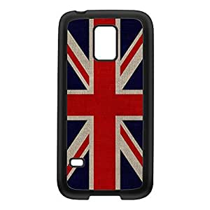 Canvas Flag of United Kingdom - UK Flag - Union Jack - Great Britain Flag Black Silicon Rubber Case for Galaxy S5 Mini by UltraFlags + FREE Crystal Clear Screen Protector