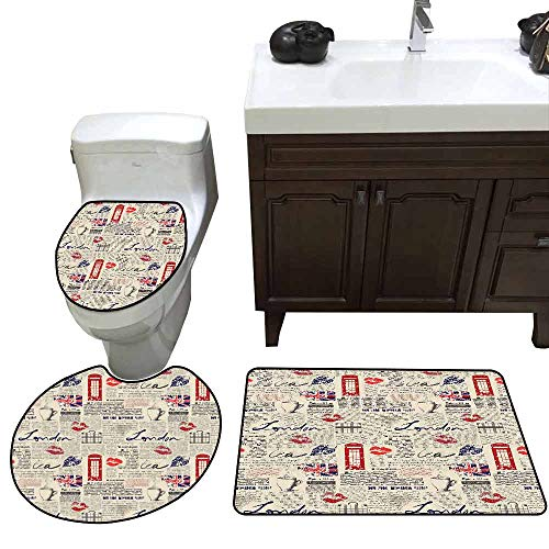3 Piece Extended Bath mat Set Tea Party London Newspaper Inspired Background with Grunge Elements Kiss Marks Customized Rug Set Beige Navy Blue Red]()
