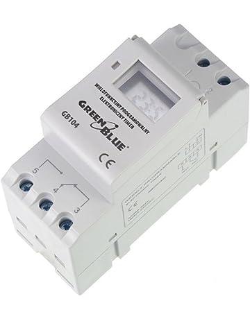 GreenBlue - GB104 Temporizador digital, planificador semanal, DIN 16A, Carril DIN, panel