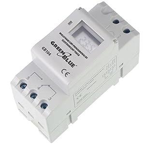 GreenBlue - GB104 Temporizador digital, planificador semanal, DIN 16A, Carril DIN, panel de control