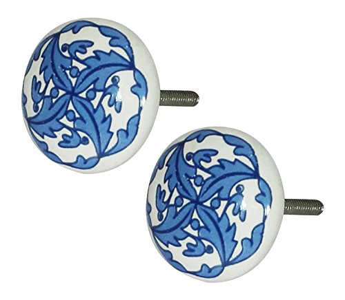 Ceramic Knobs Set of 2 Flower Design Hand-Painted Round Handmade Kitchen Cupboard & Drawer Knobs - Cabinet Pulls Handle