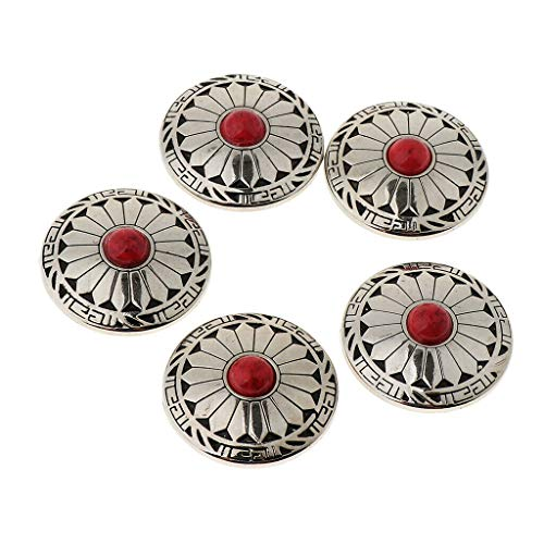 MOPOLIS 5pcs Round Floral Rivets Buttons with Screw Back For Bags Wallets Saddles | Color - Red ()