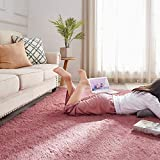 PAGISOFE Blush Fluffy Shag Area Rugs for Girls