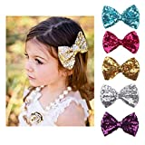 Scrunchies Metallic Elastic Sequin Hair Ties,Sequins Bow Hairpin Ornaments For Baby Girls Toddler Kids and Woman (5 Pack panchromatic)