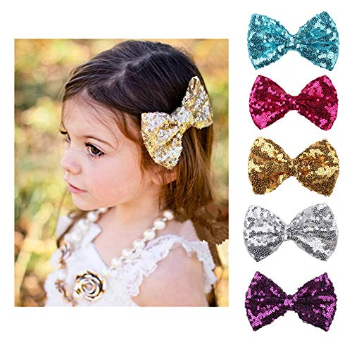 Scrunchies Metallic Elastic Sequin Hair Ties,Sequins Bow Hairpin Ornaments For Baby Girls Toddler Kids and Woman (5 Pack panchromatic) by XYX
