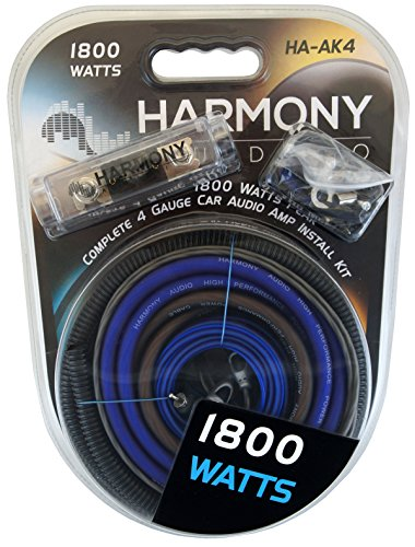 Harmony Audio HA-AK4 Car Stereo Complete 4 Gauge 1800W Amp Amplifier Install Kit - Nickel Plated