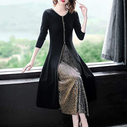 Delgada Color Las Sbl Moda Vestido Mujeres Párrafo Dos Largo Otoño De Sólido Seda Piezas Larga Manga Brillante Negro Falso II1qA6