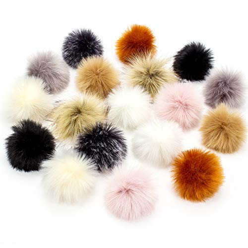 Cosweet 18pcs Faux Fur Pompom Balls for Hat 3.9 inch Fluffy Pompom for Knitting Hat Shoes Scarves DIY Accessories