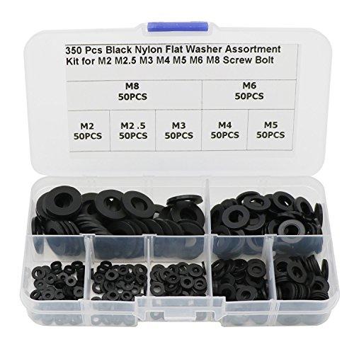 350 Pcs Nylon Flat Washers Assortment Kit for M2 M2.5 M3 M4 M5 M6 M8 Screws Bolts-Black