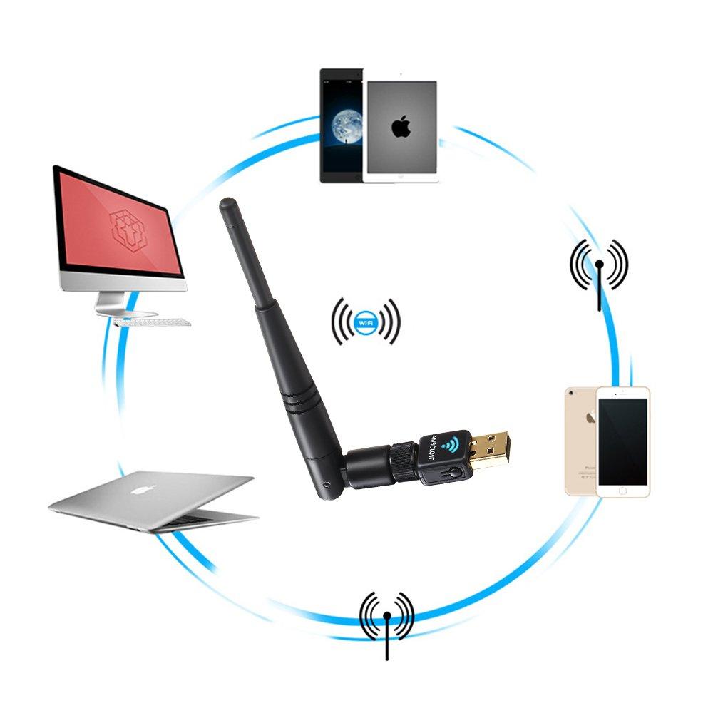 Kabellos USB WIFI Adapter, AMBOLOVE Mini WLAN wifi Stick AC 600Mbit/s Dualband Antenna Network Lan Card (802.11ac/g/b/a/n) für Windows 10/8.1/8/7/XP/Vista (32/64bits) Mac OS