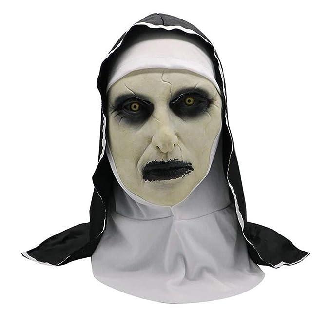 Halloween Decoración Horrorizado Monja Fantasma Máscara De Disfraces Máscara Cosplay Máscara De Látex Cabeza Completa: Amazon.es: Deportes y aire libre
