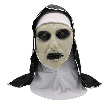 Halloween Decoración Horrorizado Monja Fantasma Máscara De Disfraces Máscara Cosplay Máscara De Látex Cabeza Completa