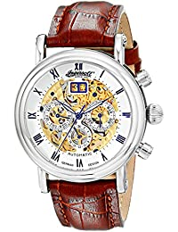 """Ingersoll Men's IN2700WH """"Gandhi"""" Stainless Steel Automatic Watch with Brown Leather Band"""