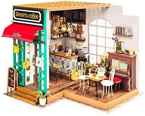 おもちゃミニチュアドールハウスキットDiyドールハウスキット手作りコーヒーショップモデルミニハウスルームクラフト家具付きバースデーギフトクリエイティブルームギフト女性と女の子のための