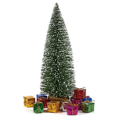 (Juvale Sisal Tree with 12 Miniature Gift Boxes - Mini Tree - Christmas Miniature Tabletop Decoration, 13 x 4.4 x 4.5 Inches)