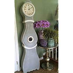 Creative Co-Op Wood Grandfather Clock, Grey/White