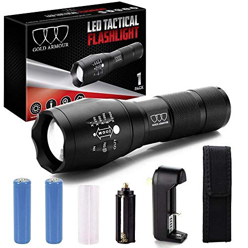 Super Bright LED Tactical Flashlight - High Lumen, Zoomable, 5 Modes, Water Resistant, Handheld Light - Best Camping, Outdoor, Emergency, Hurricane, Everyday Flashlights -