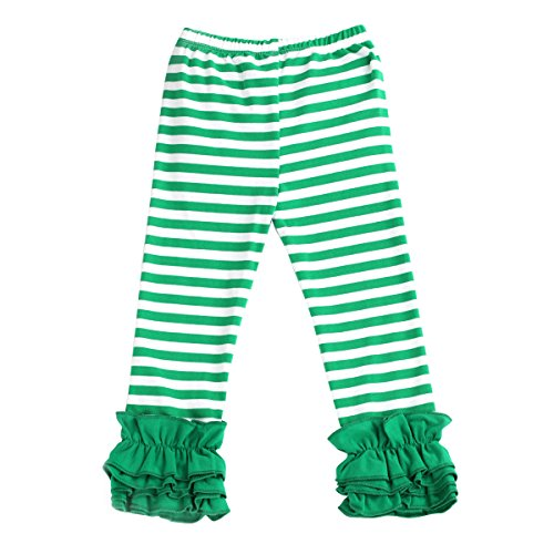 IBTOM CASTLE Little Girl's Double Icing Ruffle Leggings Toddler Girl Triple Cotton Boutique Elastic Waist Slacks Joggers Activewear Green Striped 6-12 (Striped Pants Slacks)