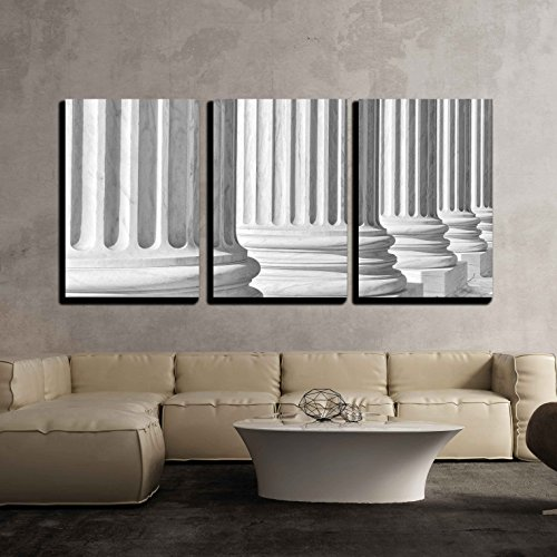 wall26 - 3 Piece Canvas Wall Art - Pillars of Law and Information at The United States Supreme Court - Modern Home Decor Stretched and Framed Ready to Hang - 24