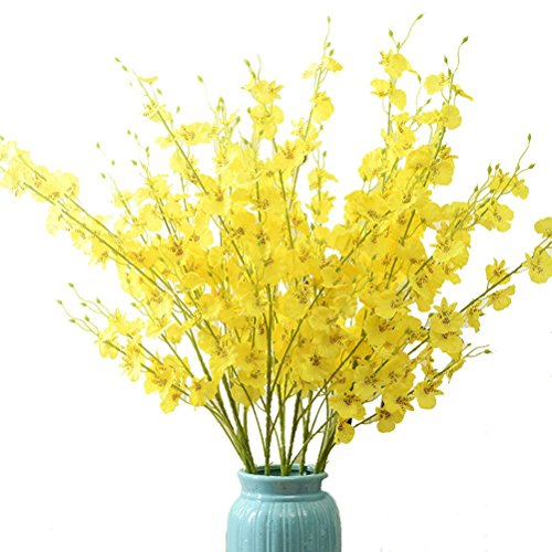 Sunrisee 10 Pieces Artificial Flowers 37.4 Inches Fake Dancing Lady Orchid Butterfly Flower for Wedding Home Office Party Hotel Restaurant Patio Yard Decoration, Yellow