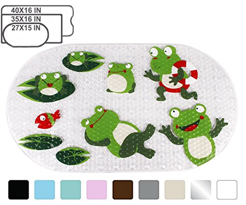 Yimobra Original Bath tub and Shower Mat for Kids Anti Bacterial,Phthalate Free,Latex and Machine Washable Cartoon Pattern Mats Materials,(Baby 27×15 Inch, Frog)
