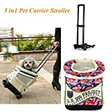 Pet Backpack 5 in 1 Pet Carrier Pet Car Seat Portable Outdoor Pet Stroller for Dogs and Cats