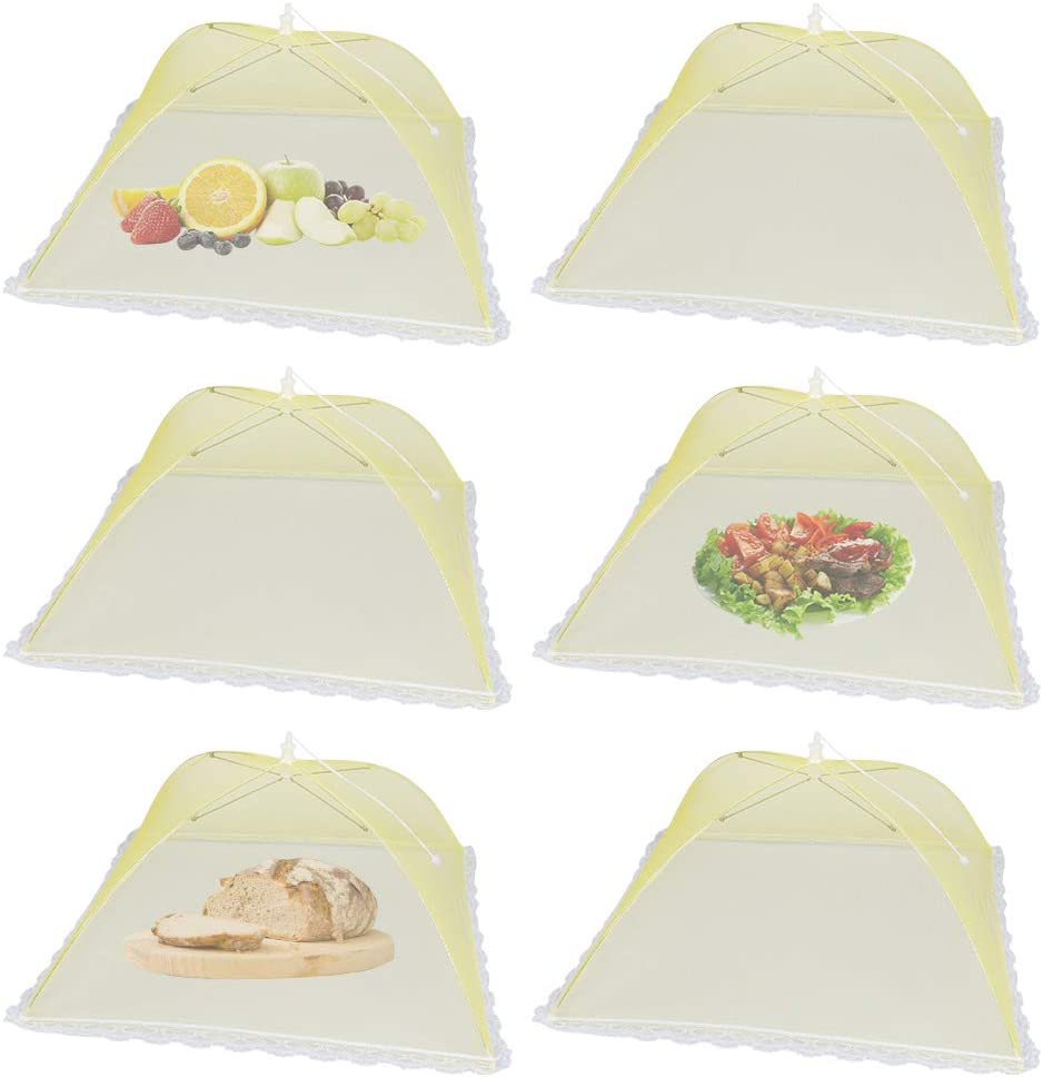 17x17inch Large and Tall Yellow Pop-Up Mesh Food Tent Umbrella, 6Pack Reusable and Collapsible Outdoor Picnic Food Covers for BBQ,Party,Camping