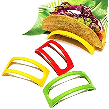 Set of 12 Original Homey Product Taco Holders - Colorful Non Toxic BPA Free Microwave Safe Stands for Soft and Hard Shells