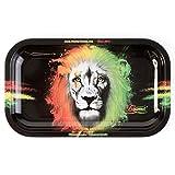Beamer Designer Series Medium Metal Rolling Tray -Rasta Lion - 10.75 inch x 6.25 inch