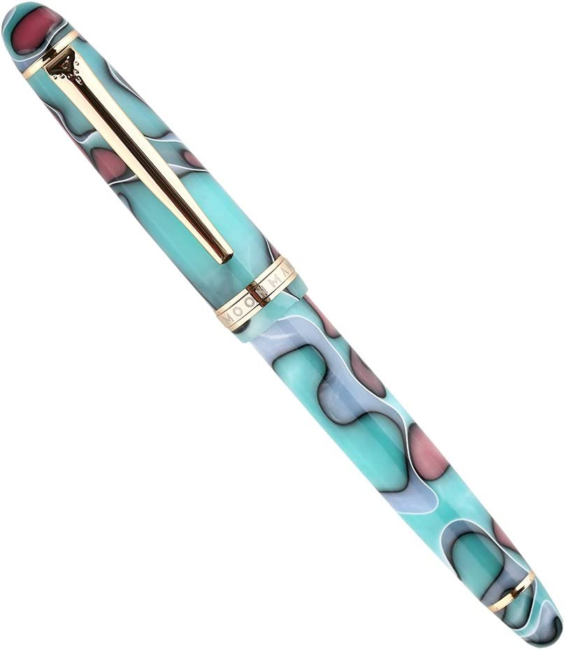 Moonman Fountain Pen Blue Lake Celluloid,Germany Iridium Extra Fine Nib with Pen Pouch for Signature Handwriting