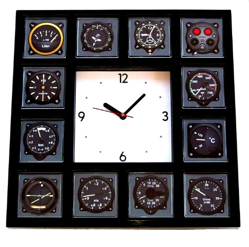 Amazon com airline airplane plane clock pilot gauges cockpit panel clock home kitchen