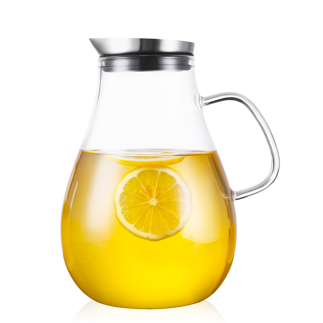 ONEISALL 85 Ounces Large Heat Resistant Glass Beverage Pitcher with Stainless Steel Lid, Borosilicate Water Carafe with Spout and Handle, Perfect for Homemade Juice & Iced Tea by Weisier (Image #7)