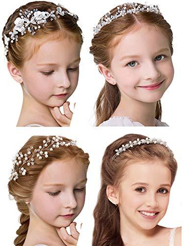 4 Pcs Girl Princess Wedding Headband Headpiece Bridal Bridesmaid hair band Pearls Rhinestone Headdress for Flower Girl Wedding Party Hair Accessory
