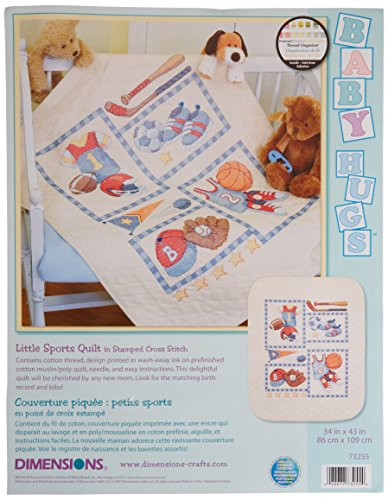 (Dimensions Stamped Cross Stitch 'Little Sports' DIY Baby Quilt, 34