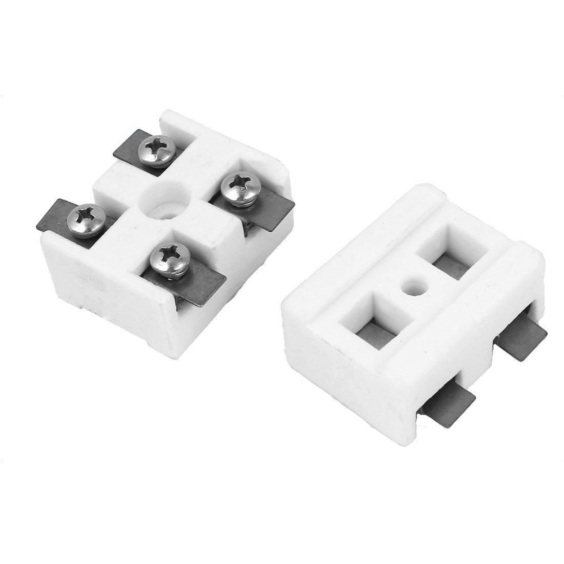 uxcell High Temperature 5 Holes Ceramic Terminal Block White 30A 2 Pcs a16031100ux0316