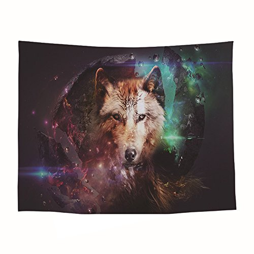MASSJOY Animal Pattern Polyester Tapestry, Corridor Decoration Blanket. (Wolf, Lion, Elk)