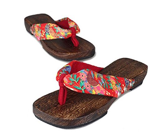 Picture of CRB Fashion Womens Japanese Kimono Geta Sandals Shoes Slippers Clogs (37, Red)