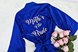 Joy Mabelle Women's silky satin robe for Mother of The Bride, Groom, bridesmaids and brides Royal Blue Satin Robe with personalization