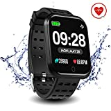 Surpro Smart Watch Heart Rate Monitor, 1.3'Bright Color Screen Waterproof Pedometer Wrist Watch, Bluetooth Running GPS Fitness Tracker Watch for Android & iOS Phones, Black