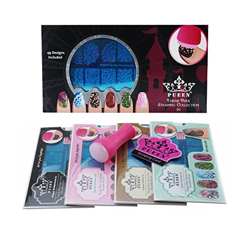 PUEEN Nail Art Stamping THEME PARK GIFT SET 01-4 Theme Park Plates - 125x65mm Unique Nailart Polish Stamping Manicure Image Plate Accessories Kit -BH000859