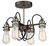 Minka Lavery Minka 4454-784 Restoration Four Light Semi Flush Mount from Uptown Edison Collection in Bronze/Darkfinish, 14.00 Inches 14.00 Inchesfour