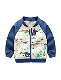 Buy-Box Baby Boys Zipper Sweater Ribbed Cuff Long-Sleeve Cotton Animal Coat