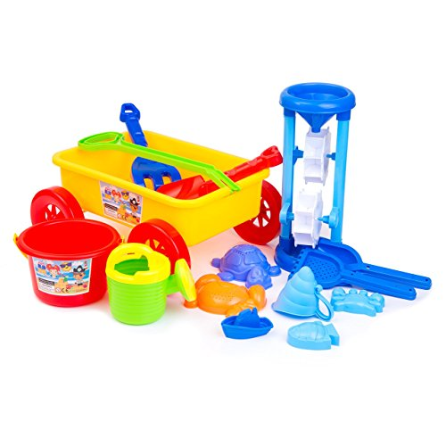 Fantastic Gifts for Kids! Wagon + Funnel + More Toys! DOUBLE THE HAPPINESS: 1 COLORFUL SET + 1 BLUE SET. Enjoy Outdoors, at the Park, Garden, Bathtub, Home or the Beach. Play Everywhere, Play Anytime!