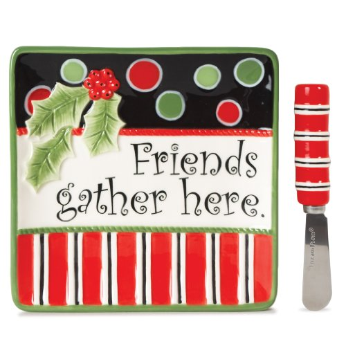 Fitz and Floyd Friends Gather Here Friends Snack Plate and Spreader Set