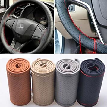 M, Black Yibei Steering Wheel Cover Genuine Leather Stitch On Wrap