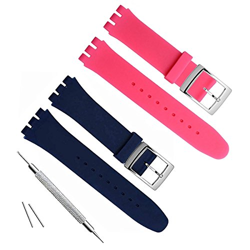 2 Pairs Silver Plated Stainless Steel Buckle Waterproof Silicone Rubber Watch Strap Watch Band (17mm, Navy Blue+Rose)