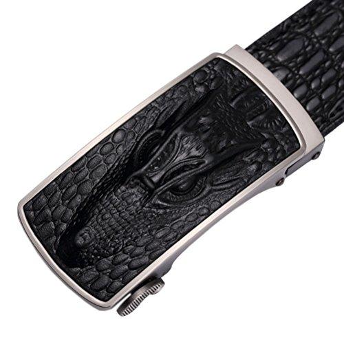 Uomini Confezione Genuine Automatica Holeless Di Coccodrillo Modello Regalo Cinghie Slitta Del Imballaggio Cricchetto Cuoio Nero Fibbia 4t7nw