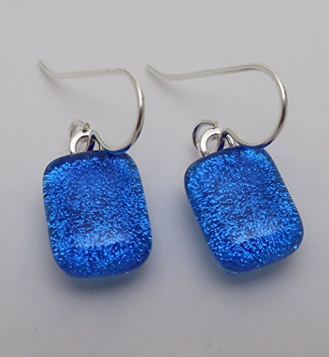 Dichroic Jewelry - Petite Fused blue denim Dichroic Glass dangle Earrings 925 Sterling silver ear wires