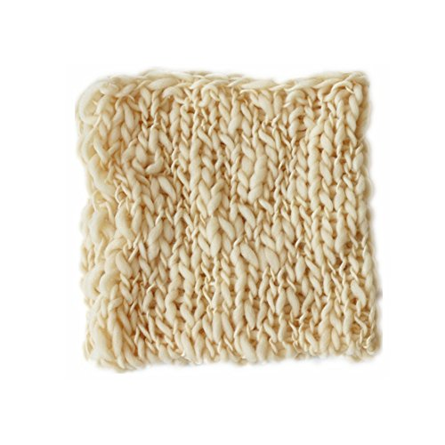 Coberllus Newborn Baby Photo Props Blanket Handmade Knitted Twist Wrap Posing Aid Backdrops for Boy Girls Photography Shoot (Beige)